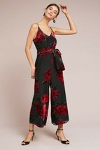 New Anthropologie Floral Burnout Waisted Jumpsuit IF BY SEA $148 SMALL  - $57.42