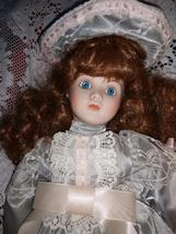FRANKLIN MINT RED HEADED GIRL IN GRAY SATIN AND WHITE LACE PINK RIBBON DOLL - $38.61