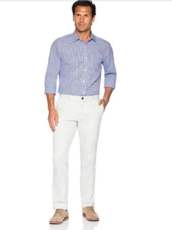 Amazon Men's Slim-Fit Wrinkle-Resistant Flat-Front Chino Pant, WHITE 32W X 32L