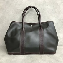 Auth Hermes Garden Party PM Amazonia leather tote bag Brown - $651.03