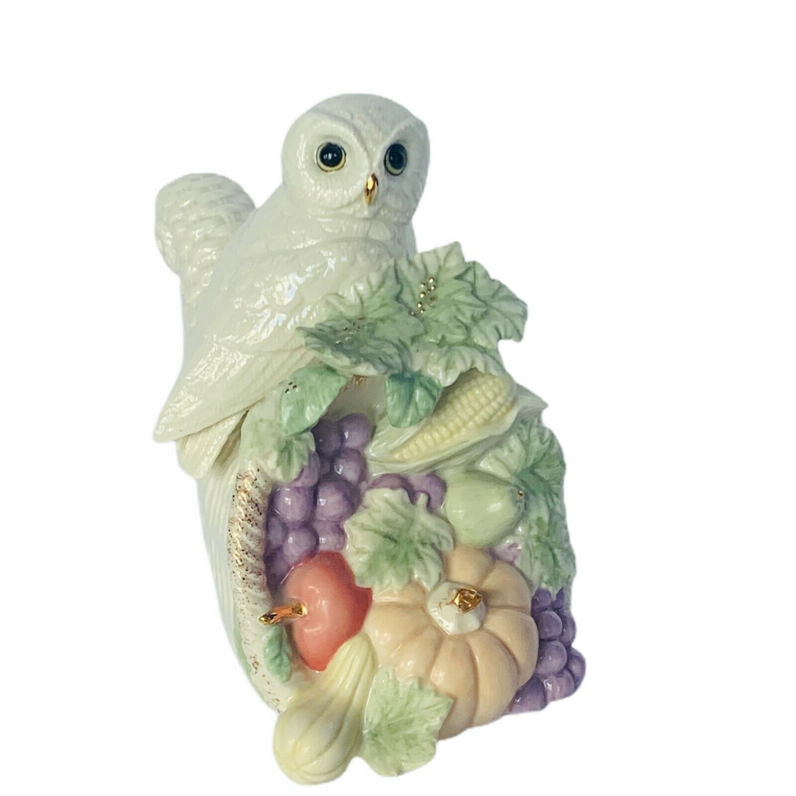Primary image for Owl figurine Lenox 2006 music box cornucopia snow white bird sculpture fruit vtg