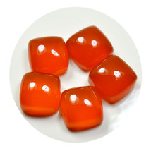 Real Orange Carnelian Total 30 Carat Stone Lot 5 Pieces Square Shape Who... - $13.86