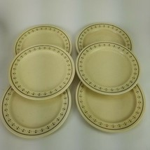 "Set of 6 Anchor Hocking USA Ironstone CHANTILLY Dinner Plates 10.5"" Brow... - $60.76"
