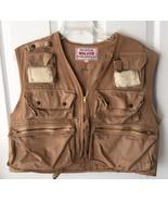 VTG Vintage Walker The Ultimate Fishing Vest 100% Cotton Khaki Large L - $99.99