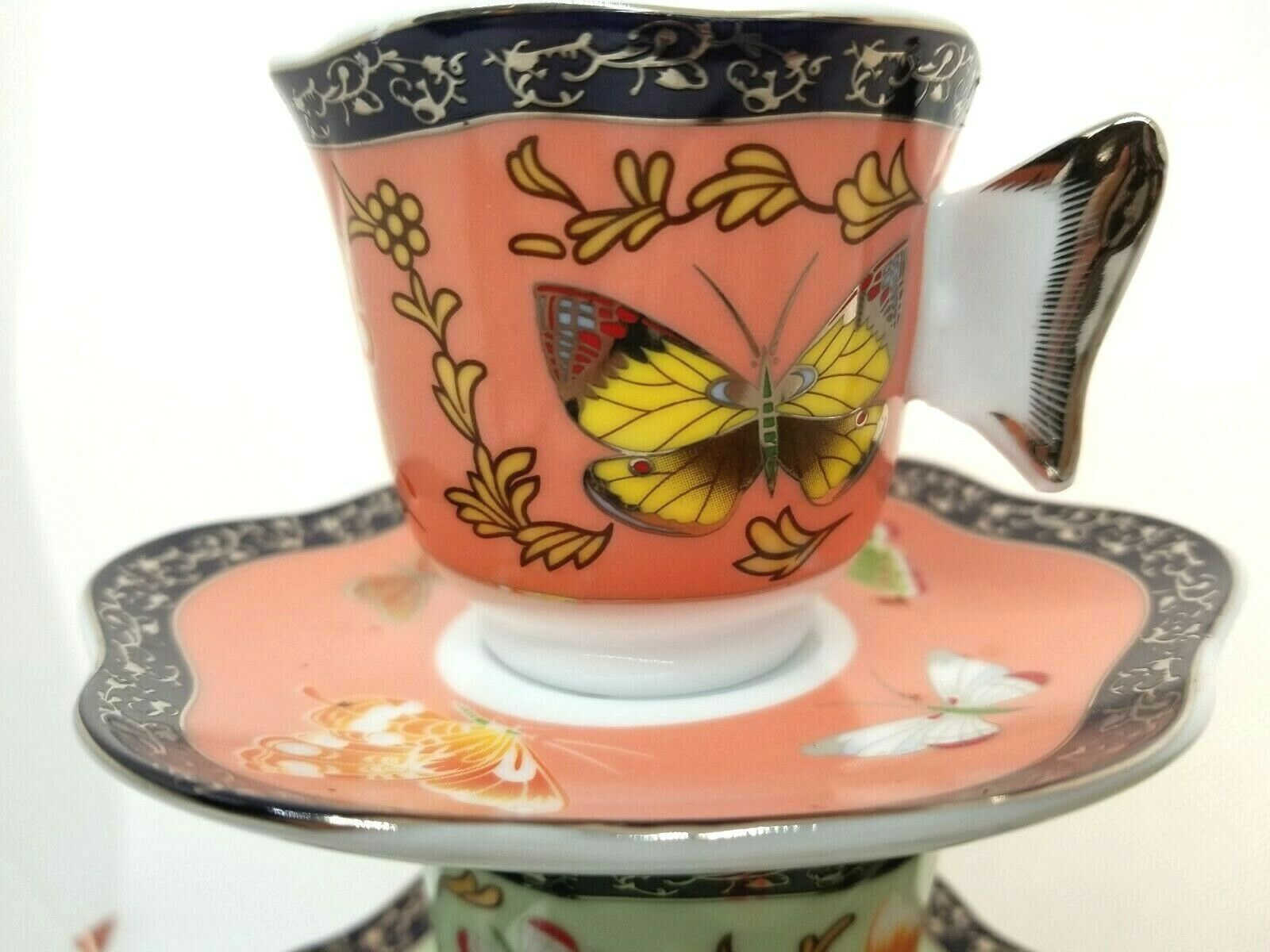 CC&T For Coffee & Tea Set Demitasse Butterfly Wing Handles Cups Saucers GORGEOUS