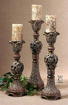 Three New Tuscan Brown Carved Style Pillar Candle Holders Antiqued Candles - $248.60