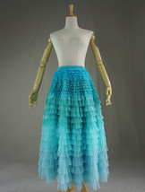 AQUA Tiered Tulle Wedding Skirt Women AQUA Wedding Guest Long Tulle Skirts Photo