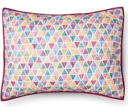 Pillowfort Triangle Stitch QUILTED STANDARD PILLOW SHAM Multi Triangles - $17.99