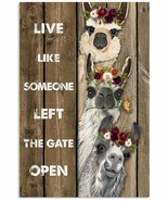 VibesPrints Wood Piece Live Like Someone Llama Poster Art Print, Gift Fo... - $25.59+