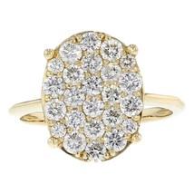 1.20ct Round Cut Diamond 14k Yellow Gold Oval Ring Size 7 - £876.99 GBP
