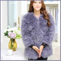 Long Sleeve Plush Long Hair Feather Ostrich Fur Short Waist or Hip Length Coat image 3