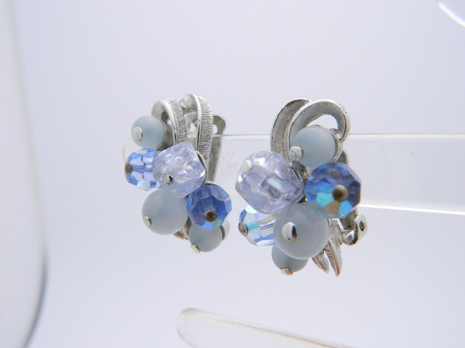 VTG CORO Blue Lucite Crystal Aurora Borealis Beaded Silver Tone Clip Earrings