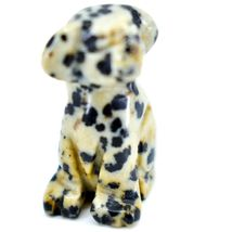 Dalmatian Dacite Gemstone Tiny Miniature Spotted Dog Figurine Hand Carved China image 5