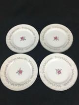 "Royal Tourbillon Fine China of Japan (4) 6 1/4"" Pain Beurre Plaques Rose... - $12.09"