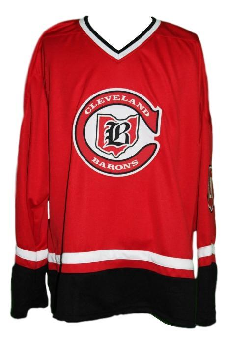 Gilles Meloche #27 Cleveland Barons Custom Retro Hockey Jersey New Red Any Size
