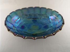 "Vintage Indiana Glass Iridescent Blue Harvest Grape 12"" Large Oval Foote... - $69.99"