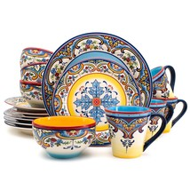 New  Euro Ceramica Zanzibar Collection Vibrant 16 Piece Ceramic Dinnerwa... - $69.29