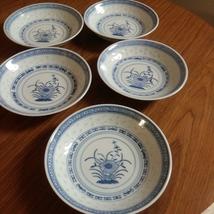 "5 Vintage Chinese Blue & White Rice Eyes Flower Pattern Low Bowl 6 "" Rice Bowls  image 3"