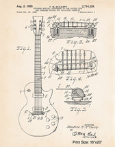 """Gibson Les Paul Artwork Poster Patent Print Gifts For Guitar Lovers 1955 16""""x20"""" - $17.33"""