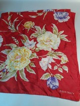 "Vintage ELLEN TRACY Red Floral 100% Silk Scarf 35"" Square - €14,85 EUR"