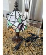 Tiffany Style 10-inch Mini Table Lamp Floral Shade Purple Orange, Bronze... - $47.99