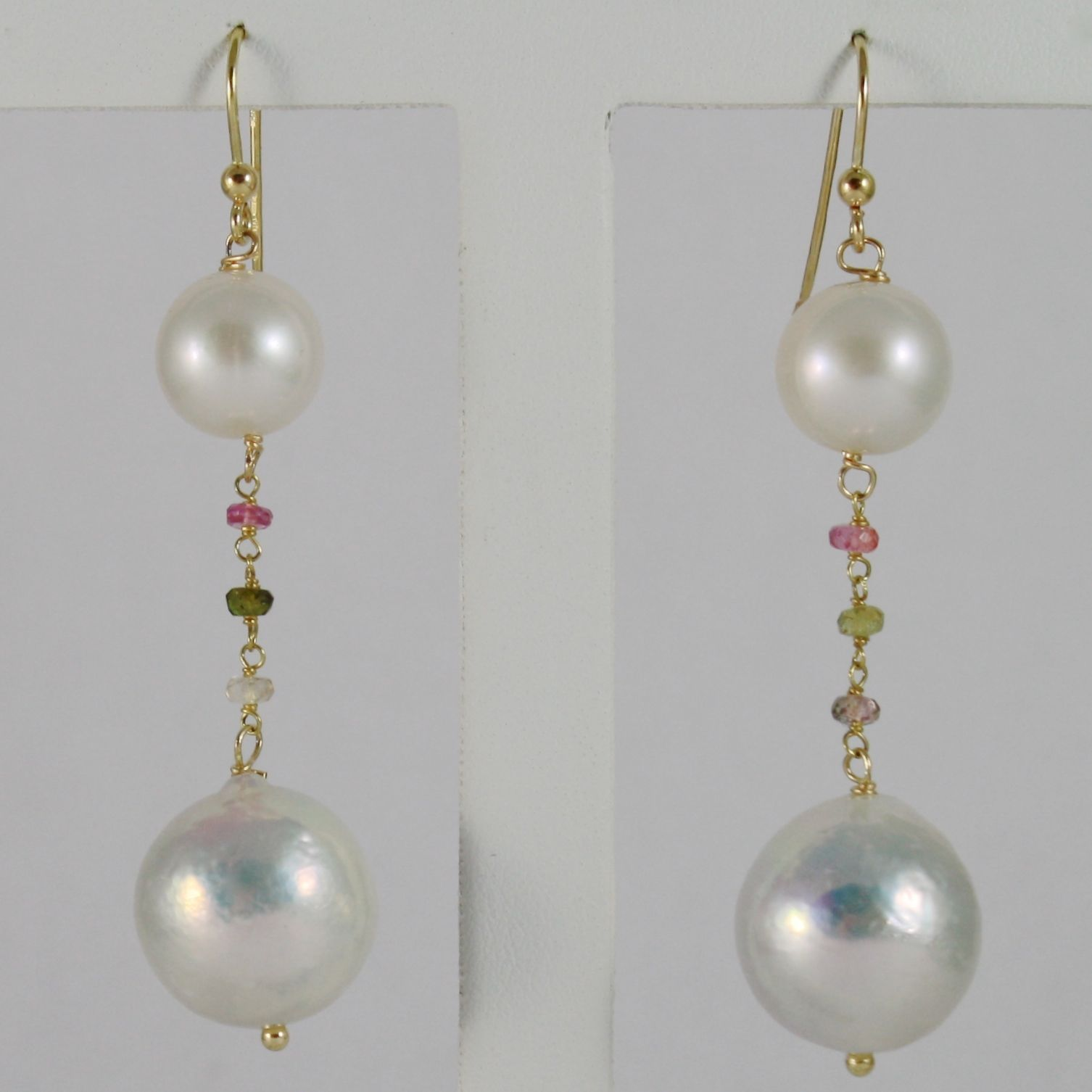18K YELLOW GOLD PENDANT EARRINGS WITH BIG 13 MM WHITE FW PEARLS AND TOURMALINE