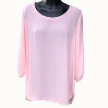 Sweet Rain Pink Roll Cuff 3/4 Sleeve Blouse Womens Size Large Shirt Hi-L... - $13.86