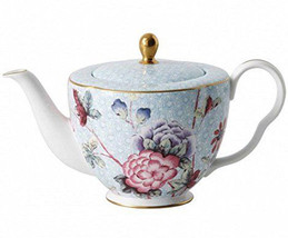 Wedgwood Cuckoo Large Teapot Blue Floral New Gift Boxed - $145.90