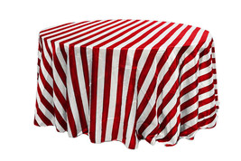 Satin Tablecloth Red/White Striped 132 inch Round - $49.99