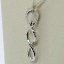 18K WHITE GOLD PENDANT CHARM INFINITY INFINITE, MADE IN ITALY 0.8 INCHES, 20 MM image 2