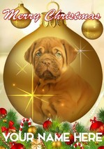 Dogue De Bordeaux Puppy Bauble Merry Christmas Personalised Greeting Card CoB159 - $3.88
