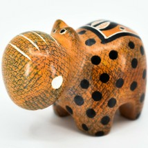 Crafts Caravan Soapstone Orange Black Hippopotamus Hippo Figurine Made Kenya image 2