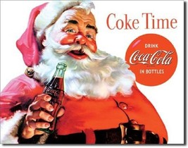 Coca Cola Coke Santa Classic Advertising Vintage Retro Style Metal Tin S... - $14.99