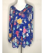 Soft Surroundings Womens Floral Shirt Tunic Top Blue V-Neck Long Sleeve ... - $39.95