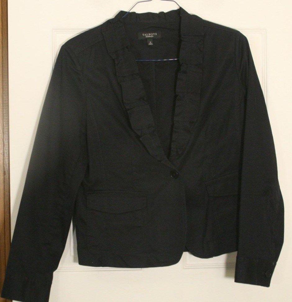 Talbots Ruffle Cotton Tailored Blazer Womens 12 Classic Grace Fit Navy Blue