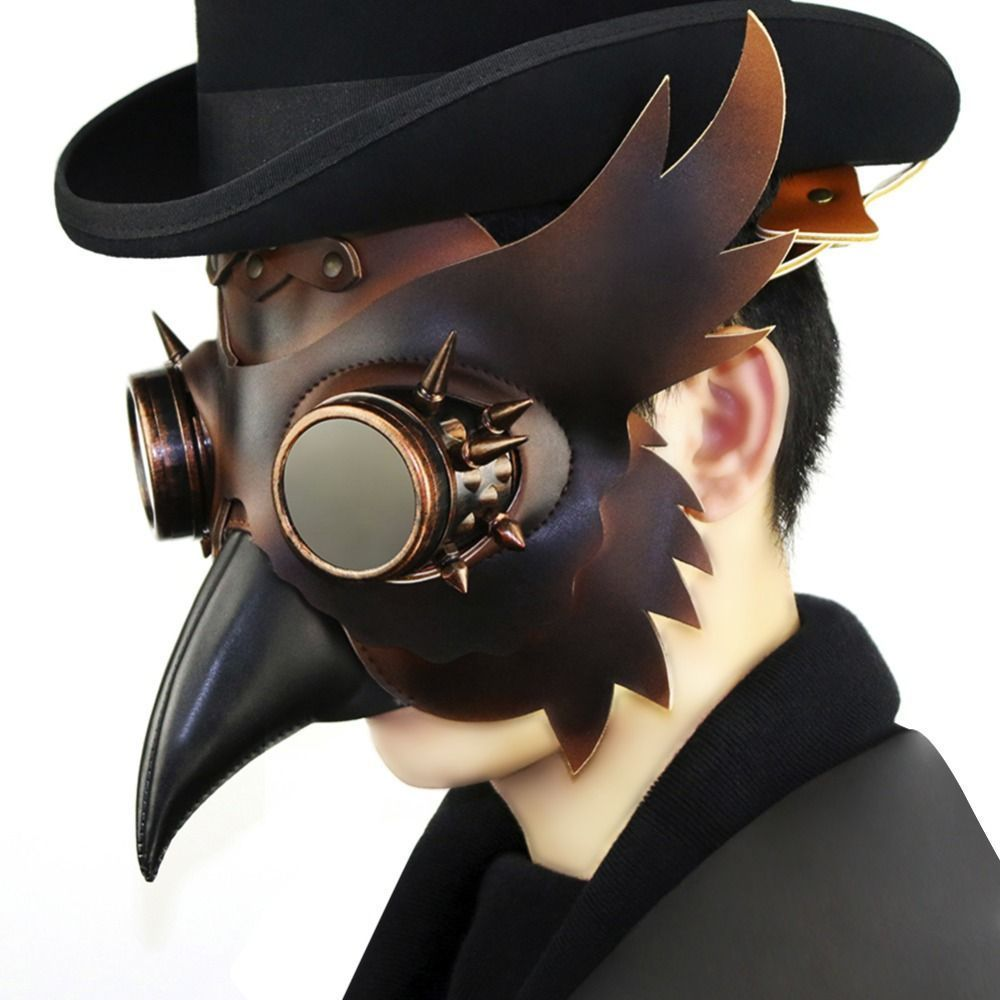 Reenactment Plague Doctor Steampunk Bird Leather Mask Halloween Gothic Cosplay