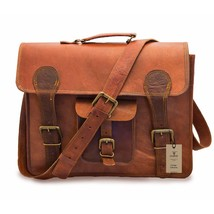 """New Men's Handmade 15"""" Brown Laptop Vintage Soft Leather Look Office For... - $65.36"""
