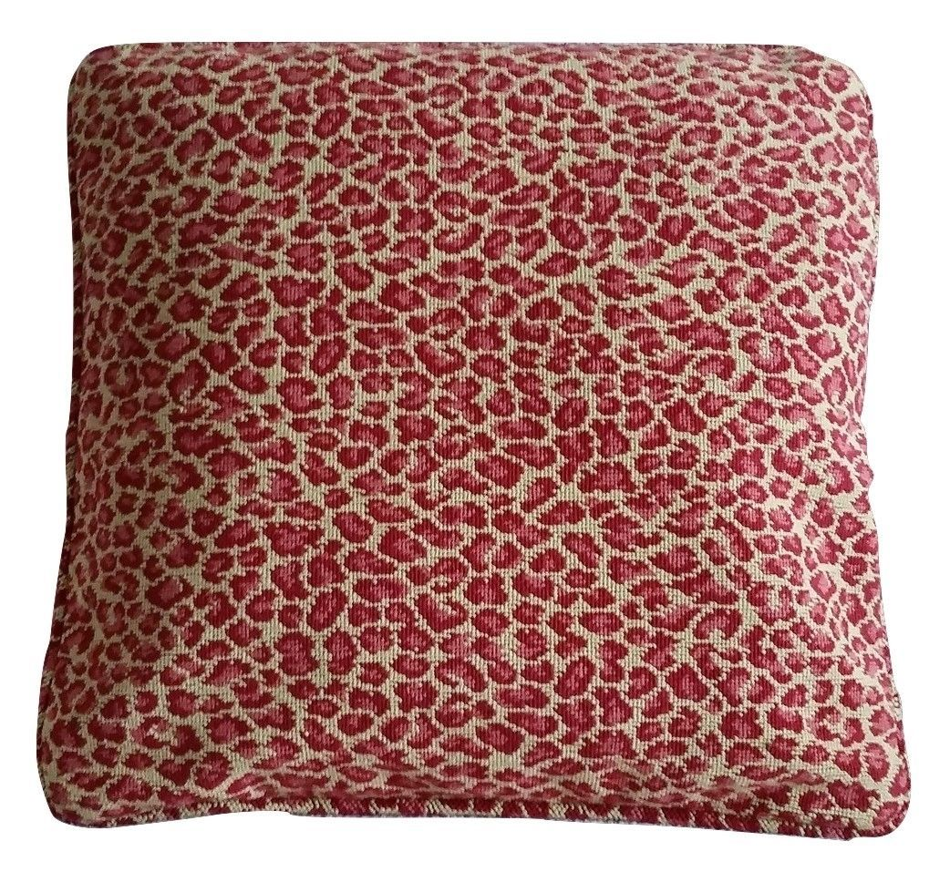 1 Pillow Cover Red and Tan Leopard Grospoint - B1