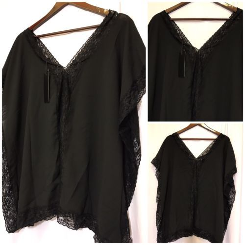 NWT Women's Black Batwing CasualLaced Blouse Top Size 1x