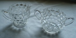 Vintage Fostoria American Glass/Crystal Creamer and Open Sugar Bowl - $5.93