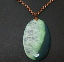 Natural Stone Green Quartz Pendant Necklace, Copper Chain 32 inch Women ... - $16.82