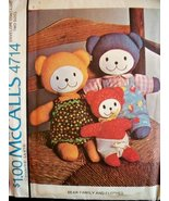McCall 4714 sewing pattern makes Stuffed Bears and Clothes - $9.89