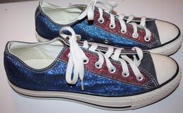 Converse Unisex Men's Sz 7M Women's Sz 9M Red Blue Glitter Tennis Shoes ... - $49.99