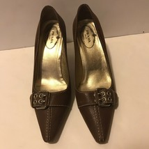 Prada Brown Leather Silver Buckle Pointed Toe Size 36 - $93.14
