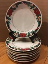 "Set of 8 Tienshan Fine China Deck the Halls Salad Plates 7.5"" Poinsettia... - $18.81"