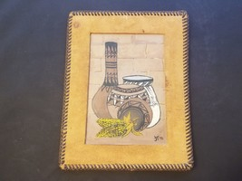 Signed & Framed JT Leather Bound Oil On Board Native American Pottery & ... - $48.42