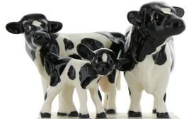 Hagen Renaker Miniature Holstein Bull, Cow and Calf Ceramic 3 Piece Figurine Set