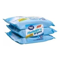 Great Value Fresh Scent Flushable Wipes Refills, 42 sheets (Pack of 6) - $27.50