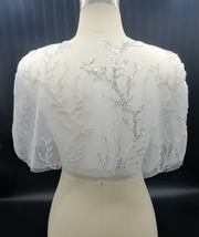 White Lace Bridal Wraps Cover-Ups Embroidery Lace Wedding Sequin Shawl Wrap Cape image 2