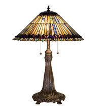 "27""H Tiffany Jeweled Peacock Table Lamp.602 - $1,185.00"